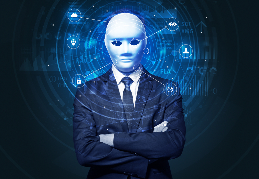 Facial recognition biometric technology and artificial intelligence concept